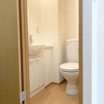 そのお隣のドアを開けるとトイレと洗面台です。