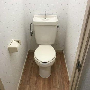 トイレは壁紙が可愛い個室にあります