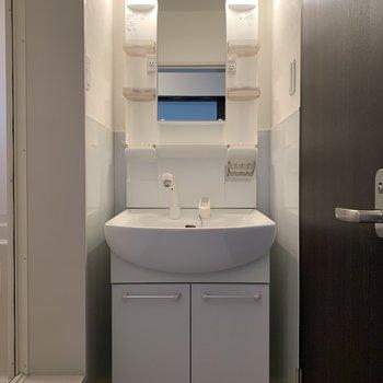 お風呂場とトイレに挟まれた洗面台