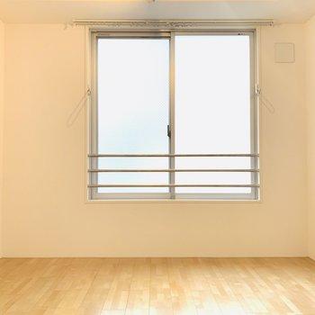 窓には物干し掛けが
