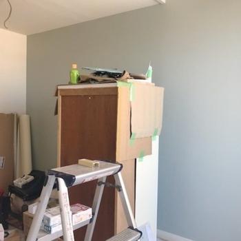 工事中】アクセントクロスは壁一面のみに入ってます!