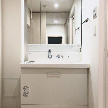 水回りを見ていきましょう。洗面台には引き出し式のステップがあるので、お子さんも使いやすい設計に。