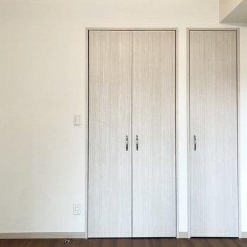 【洋室】収納は扉が2つに分かれていますが、中はつながっています。