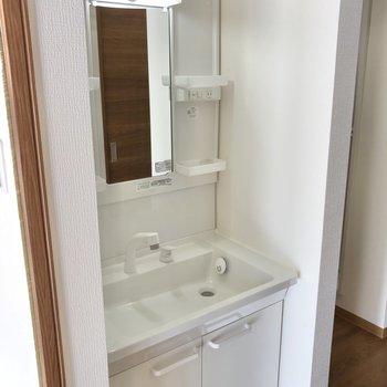 リビングを出たすぐ横にあるのは洗面台です。