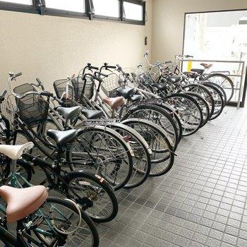 自転車置場は嬉しい室内です。