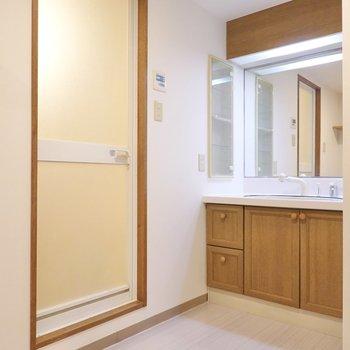 脱衣所には大きな鏡の洗面台と、お風呂!