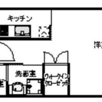 居室は7帖くらいかな。1人暮らしにぴったりな1Kのお部屋。