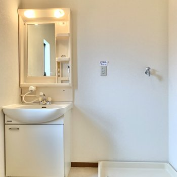 洗面台と洗濯機置き場は隣り合っています。洋服やタオルをサッとお洗濯できますね。