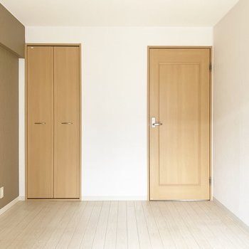 北面。左はクローゼット、右はLDKへのドア。