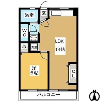 1LDK。広めのお部屋。
