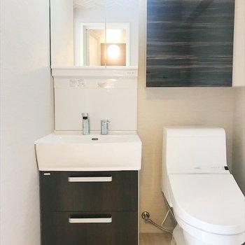 立派な独立洗面台はトイレのお隣。