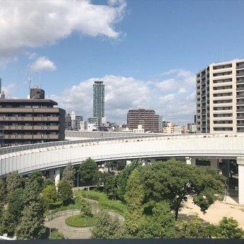 阿倍野ハルカスと公園の緑が融合していますね。