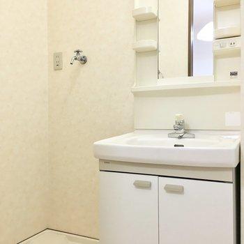 洗濯パンと洗面台はお隣どうし。