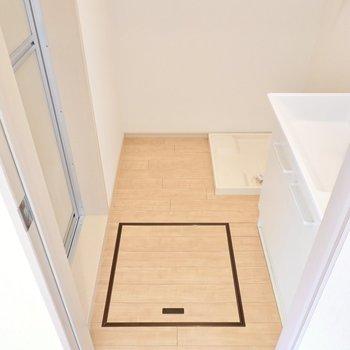 脱衣所はひとりでゆったり使える広さ。右奥には洗濯機置き場。