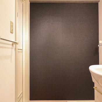 脱衣所も黒。チェックタイルとの対比が面白い。