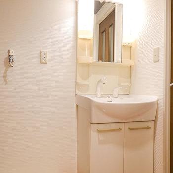 棚付きで使いやすい洗面台。その左には洗濯機置き場。