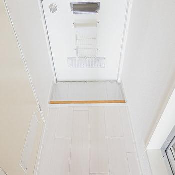 玄関はコンパクトですが、靴の脱ぎ履きはしっかりできる広さ。