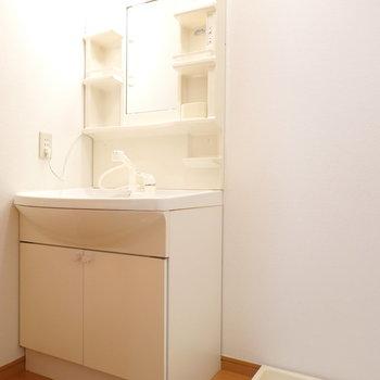 洗面所には、洗面台と洗濯機置き場がセットに!