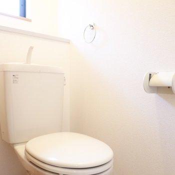 トイレはシンプルですが、床材の表情がとっても可愛らしい。