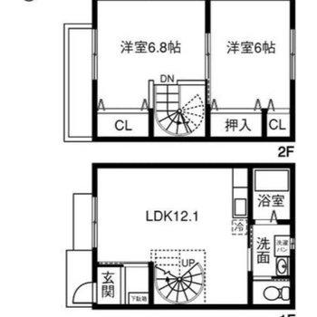 テラスハウスなので2階あります!