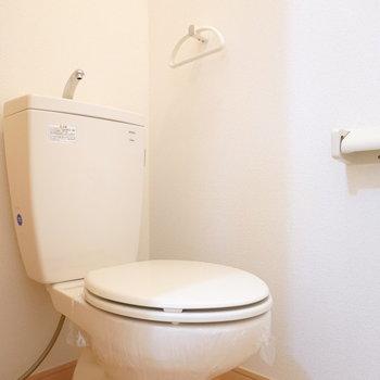 トイレはシンプルですが、床材の色味が素敵。