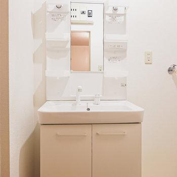 棚付きの洗面台で、家族分の歯磨きセットもしっかり収納してくれそう。