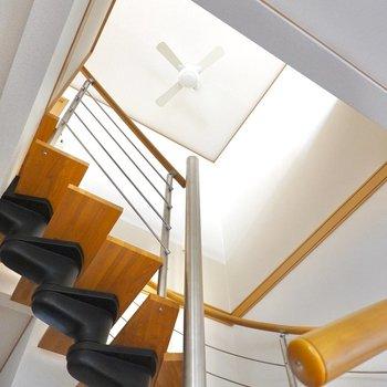 ええな〜この眺め…シーリングファンに見惚れながら2階へ。
