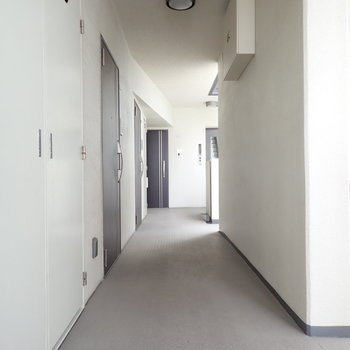 共用部】淡いトーンの廊下。
