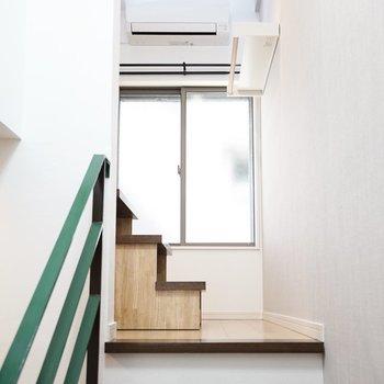 無骨さのある階段を登ります。(※写真は1階の反転間取り別部屋のものです)