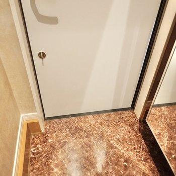玄関は脱ぎ履きには困らないサイズ。