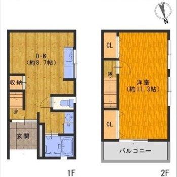 2階建ての貸家です。