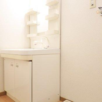脱衣所内には洗面台と洗濯機置き場。(※写真は1階の同間取り別部屋のものです)