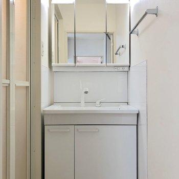 鏡が収納になった独立洗面台がお出迎えです