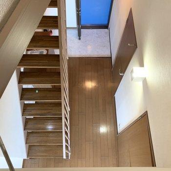 【洋室5.4帖】下の階を眺めることも。