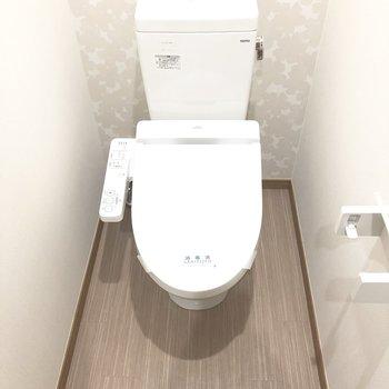 トイレは流すと上から水が出るタイプ。すぐ手をすすげます。