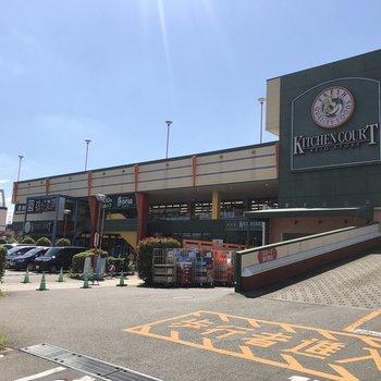 隣にスーパー、100円ショップ、薬局、飲食店などが入る大きめな商業施設。