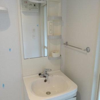 洗面台はお風呂場の横に。収納力も◎