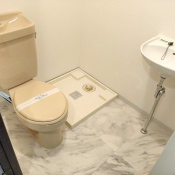 トイレは洗濯機を置くと少し窮屈に感じるかも。