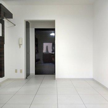 床は方眼紙のよう。光沢がない素材が上品。扉はピカピカ!
