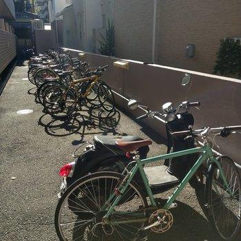 駐輪場。とても綺麗に並んでいました。
