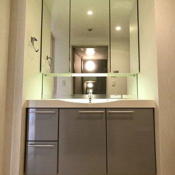 美しい洗面台に拍手※写真は5階の反転同間取り別部屋のものです