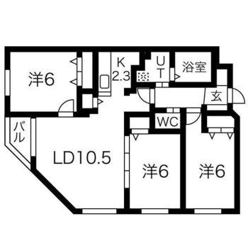 洋室全て6×6×6の新築3LDK!