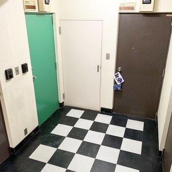 ライブハウスみたいな床が原宿っぽい共用部。203号室はグリーンのドアです。