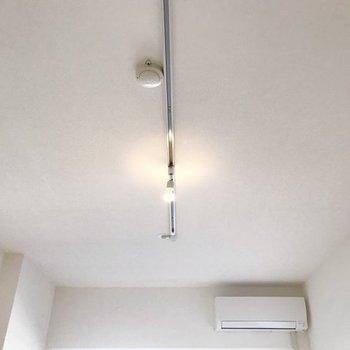 天井にはライテイングレール。観葉植物を垂らしても素敵!(※写真は別部屋のものです)