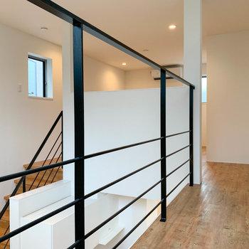 【上階】奥から見ると。階段までくるっとなった動線です。