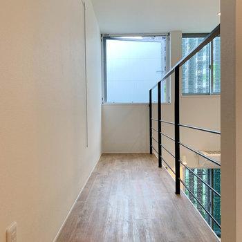 【上階】左奥は廊下のようなスペース。奥の窓も換気できます。