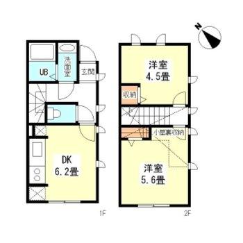 メリハリのある生活ができそうな2DKのお部屋。