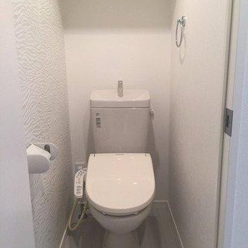 トイレはゼブラがアクセント(※写真は1階の同間取り別部屋のものです)