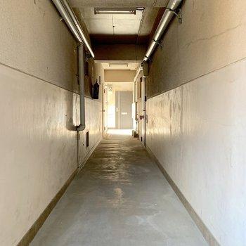 かなりレトロな共用廊下。