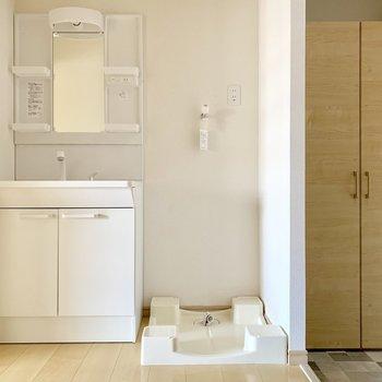 玄関入ってすぐのところに洗面台と洗濯機。
